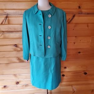 1950s Richard Healy Green/Blue, Wool, Lined Suit